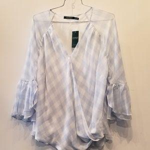 Ralph Lauren New Bell Sleeve Silk Blouse NWT